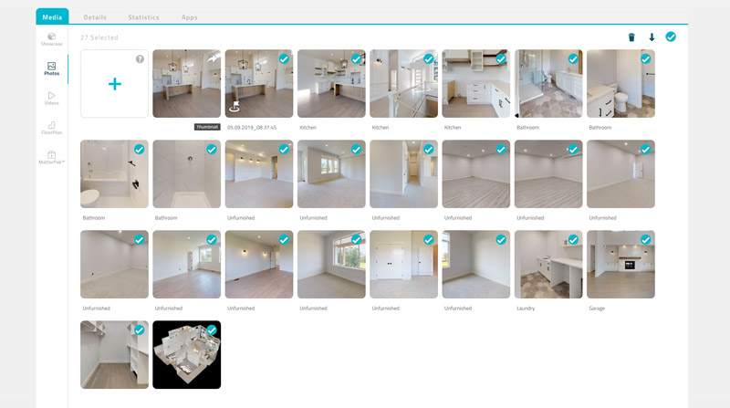Extraire un nombre illimités de photos à partir d'un modèle matterport
